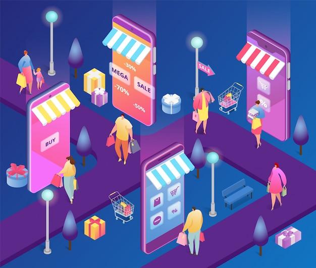 Isometrische online-shopping-leute illustration, cartoon 3d kundenfiguren mit einkaufstasche kaufen im rabattverkauf mit smartphone