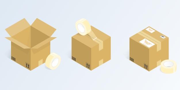 Isometrische online-shopping-lieferung, verpackung vektor