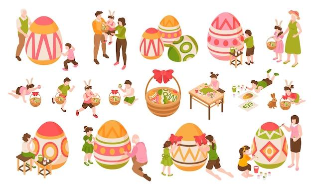 Isometrische osterfarbelemente des satzes von kindern, die große eier zusammen mit ihren eltern und großeltern malen, isoliert
