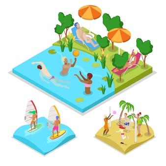 Isometrische outdoor-aktivität wasserball illustration