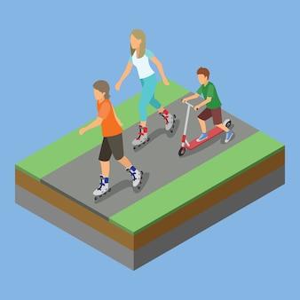 Isometrische parkaktivität, die rollerskates spielt