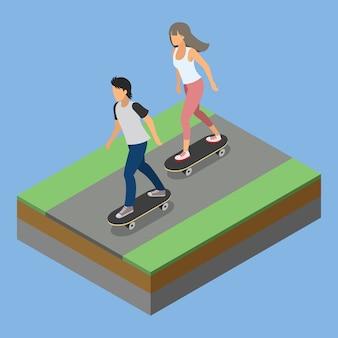 Isometrische parkaktivität, die skateboard spielt