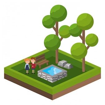 Isometrische parkaktivitätskarikatur