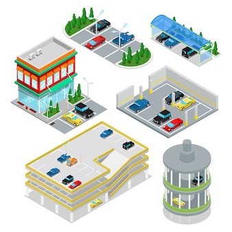 Isometrische parkplatzsammlung