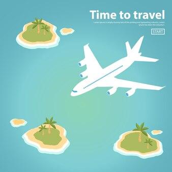Isometrische passagierflugzeug tropische inseln mit palmen und stränden
