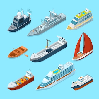 Isometrische passagierschiffe und verschiedene boote im hafen. marine abbildungen