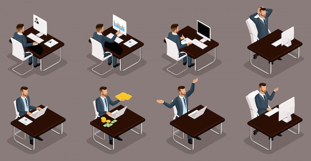 Isometrische personen, 3d-jungunternehmer, verschiedene szenen von konzepten, die im büro arbeiten, emotionen und gesten eines geschäftsmanns bei der arbeit, geldmanagement isolieren