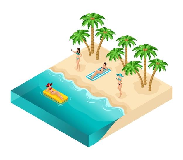 Isometrische personen, 3d-touristen, mädchen, die auf strand, ozean, sand, palmen, ruhe, sonnenbaden, frauen in badeanzügen, urlaub, lokalisiert auf weißem hintergrund entspannen