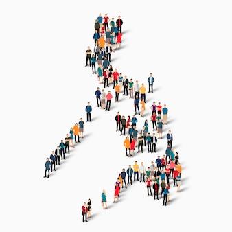 Isometrische personen, die karte der philippinen bilden