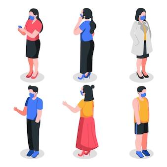 Isometrische personen, die masken tragen