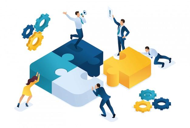 Isometrische personen, die puzzle-elemente verbinden. symbol der teamarbeit.