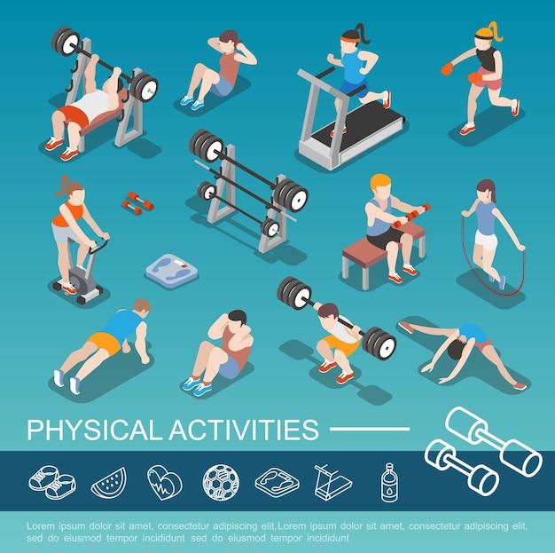 Isometrische personen in der turnhalle sammlung mit männern und frauen, die auf laufband reiten fahrradspringen springseilboxen heben langhantel machen sportübungen illustration