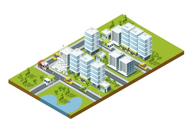 Isometrische perspektivestadt mit straßen, häusern, wolkenkratzern, parks und bäumen