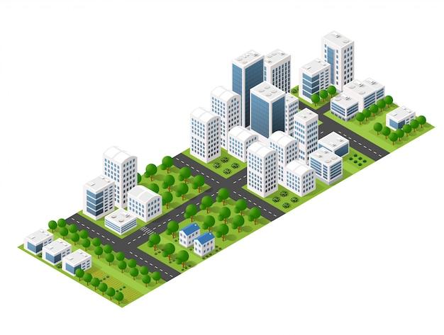 Isometrische perspektivestadt mit straßen, häusern, wolkenkratzern