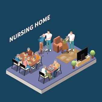 Isometrische pflegeheimillustration