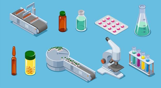 Isometrische pharmazeutische Industrieelemente eingestellt mit Verpackungsausrüstung Pillen Drogenflaschen Röhrchen Pipettenmikroskop isoliert