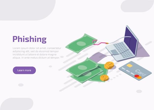 Isometrische phishing-landingpage oder webbanner.