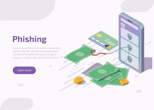 Isometrische phishing-landingpage