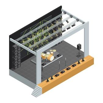 Isometrische plakatkonstruktion der konzertbühne mit verschiedenen lautsprechersystemen für mikrofone
