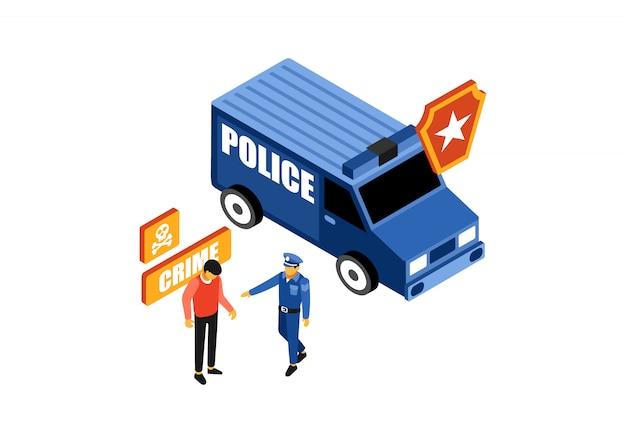 Isometrische polizei fängt einen verbrecher