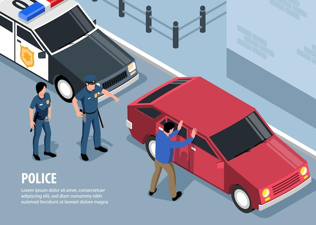 Isometrische polizeiillustration