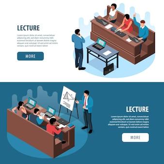 Isometrische professor vorlesungsklasse satz von zwei horizontalen bannern mit personen bearbeitbaren text und mehr schaltfläche