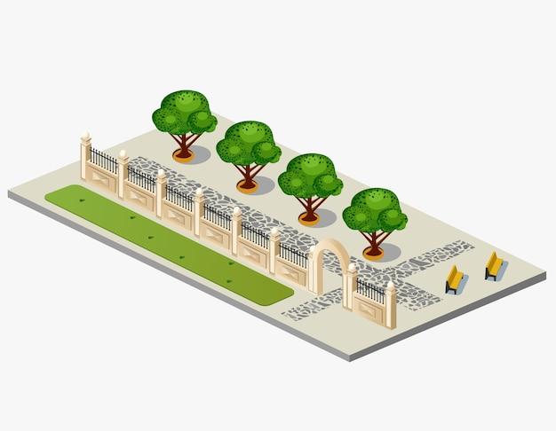 Isometrische projektion des vektors des städtischen gartens