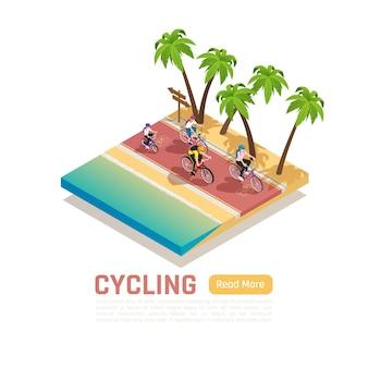 Isometrische radsportkomposition mit sport und aktiven lebenselementen