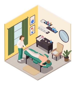 Isometrische raumillustration der massagetherapie