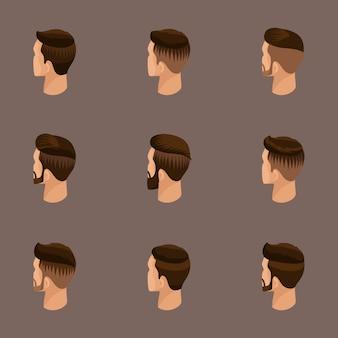 Isometrische reihe von avataren, herrenfrisuren, hipster-stil