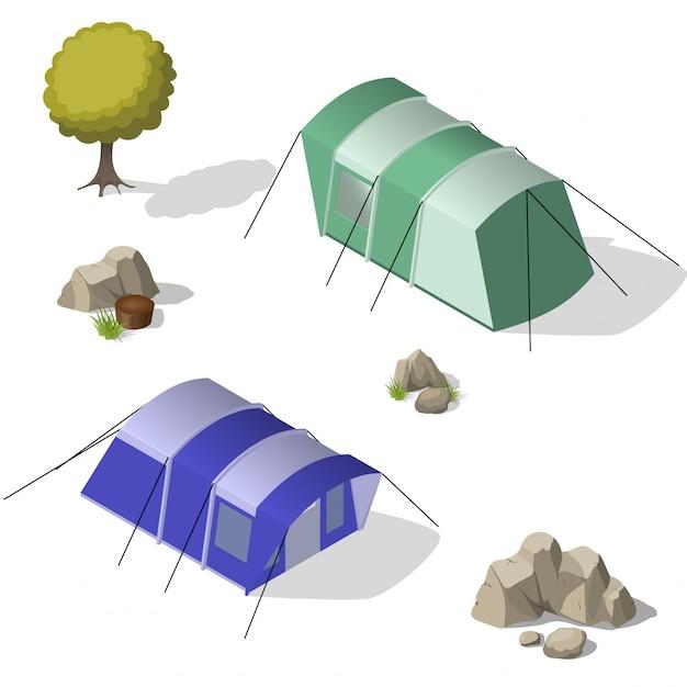 Isometrische reihe von touristischen zelten.