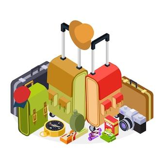 Isometrische reiseillustration. gepäck, koffer, rucksack und wanderzubehör