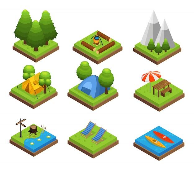 Isometrische reisende camping-sammlung
