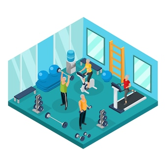 Isometrische rentner im turnhalle-konzept mit großvätern, die hanteln und großmütter anheben, die auf laufband laufen und fahrrad trainieren