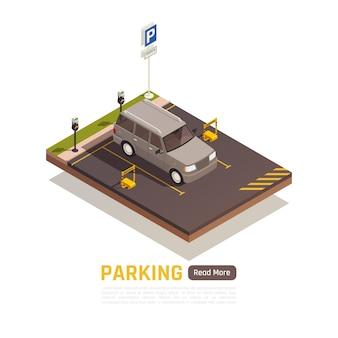 Isometrische reservierte parkplatzfahnenschablone