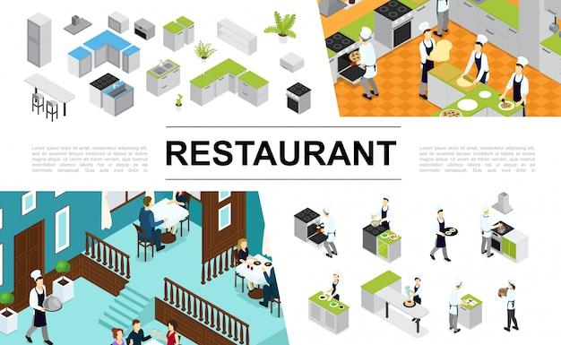 Isometrische restaurantzusammensetzung mit kücheninnenmöbeln, die verschiedene gerichte und mahlzeiten kochen kellnerbesucher, die am tisch sitzen