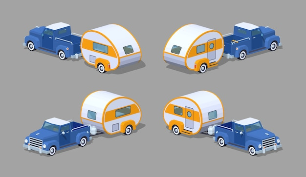 Isometrische retro- aufnahme 3d mit wohnmobil