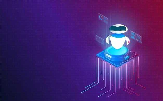 Isometrische roboter auf prozessorchip auf systemrasterhintergrundvektor und -illustration