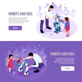 Isometrische robotik kinder bildung satz von horizontalen bannern mit mehr schaltflächen bearbeitbaren text und menschlichen zeichen Kostenlosen Vektoren