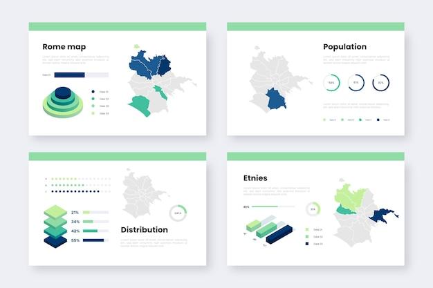 Isometrische rom-karteninformationen Kostenlosen Vektoren