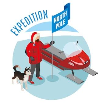 Isometrische runde zusammensetzung der arktischen expedition mit dem wissenschaftler, der nordpol-flaggenschlittenhund und -schneemobil hält