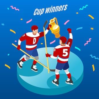 Isometrische runde zusammensetzung der eishockey-pokalsieger-feier mit zwei spielern mit der trophäe festlich