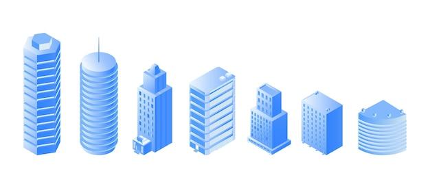 Isometrische s der städtischen architektur eingestellt