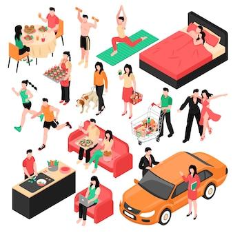Isometrische satzpaare des täglichen routinemannes und -frau während des essens bearbeiten das einkaufen und schlafen lokalisierte illustration
