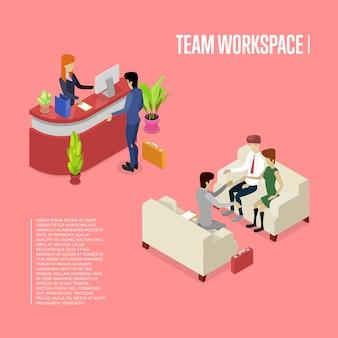 Isometrische schablone 3d des modernen teamarbeitsplatzes