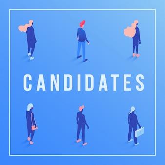 Isometrische schablone der kandidaten-social media-fahne