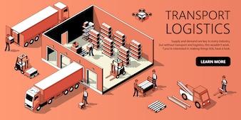 Isometrische Schablone des Standorts 3d - Transportlogistik