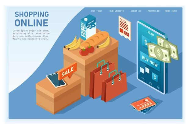 Isometrische schattenillustration des online-einkaufs mit handy speichert isolierte illustration