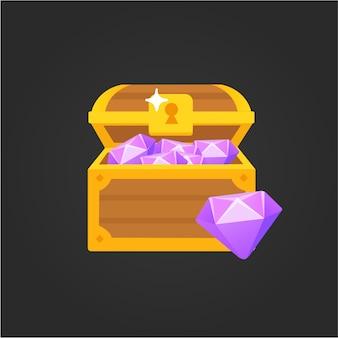 Isometrische schatztruhen-animationsspiel