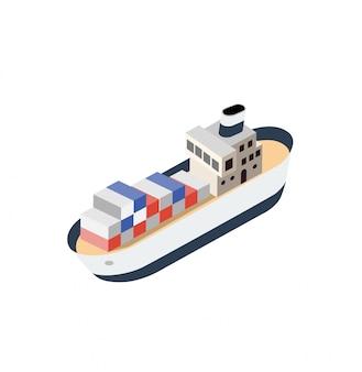 Isometrische schiffscontainerschiff